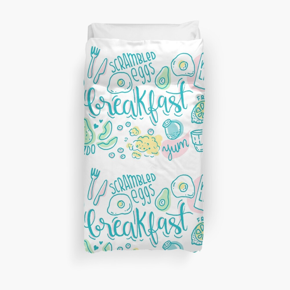 Breakfast - Colorful illustrated food pattern Duvet Cover