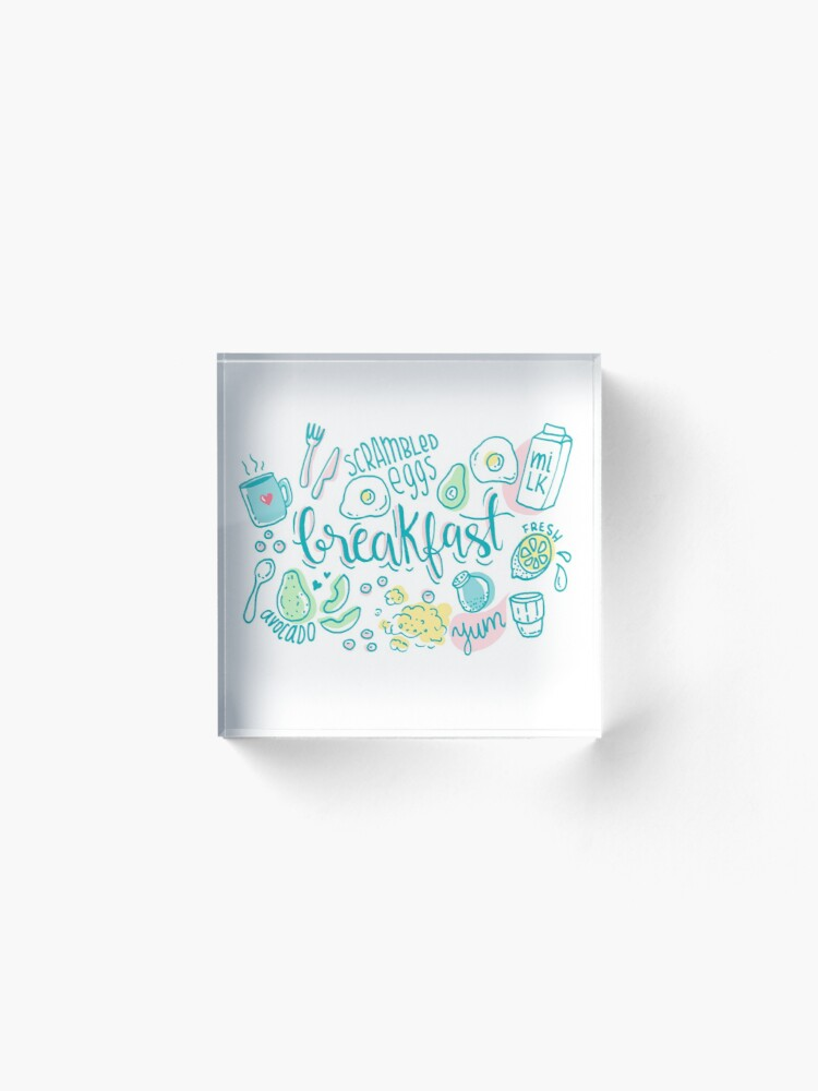 Alternate view of Breakfast - Colorful illustrated food pattern Acrylic Block