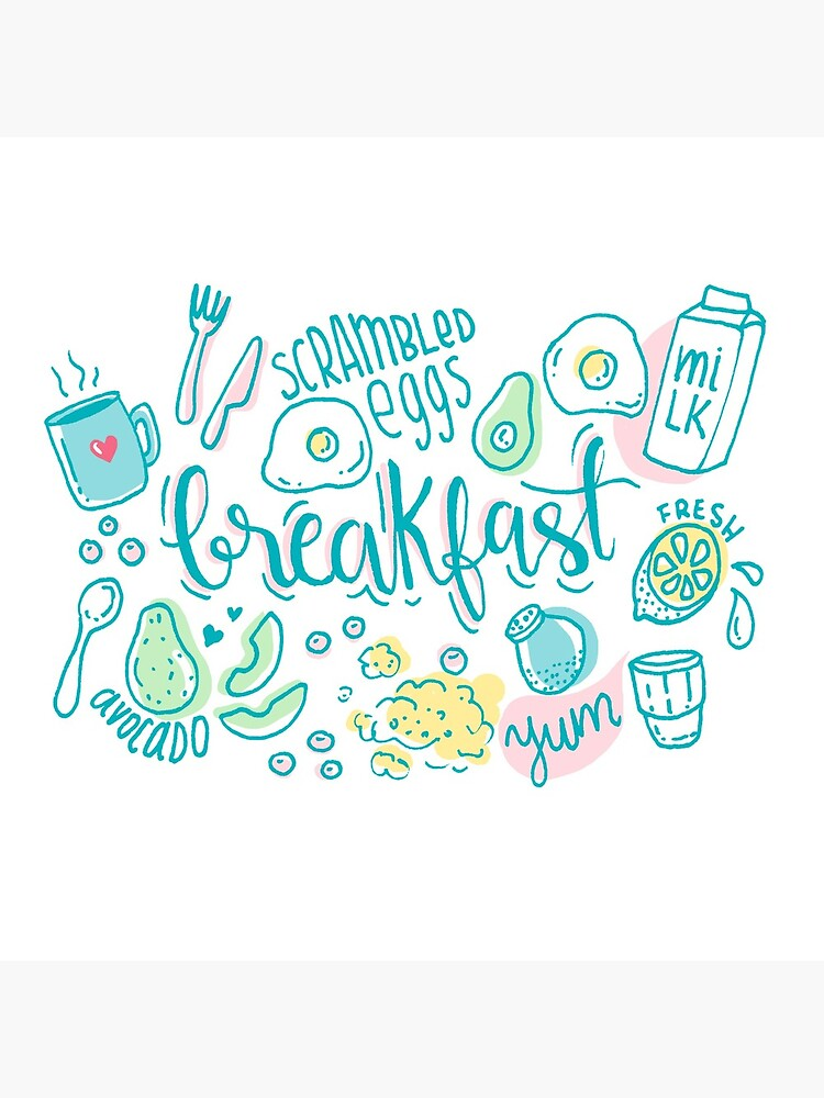 Breakfast - Colorful illustrated food pattern by mirunasfia