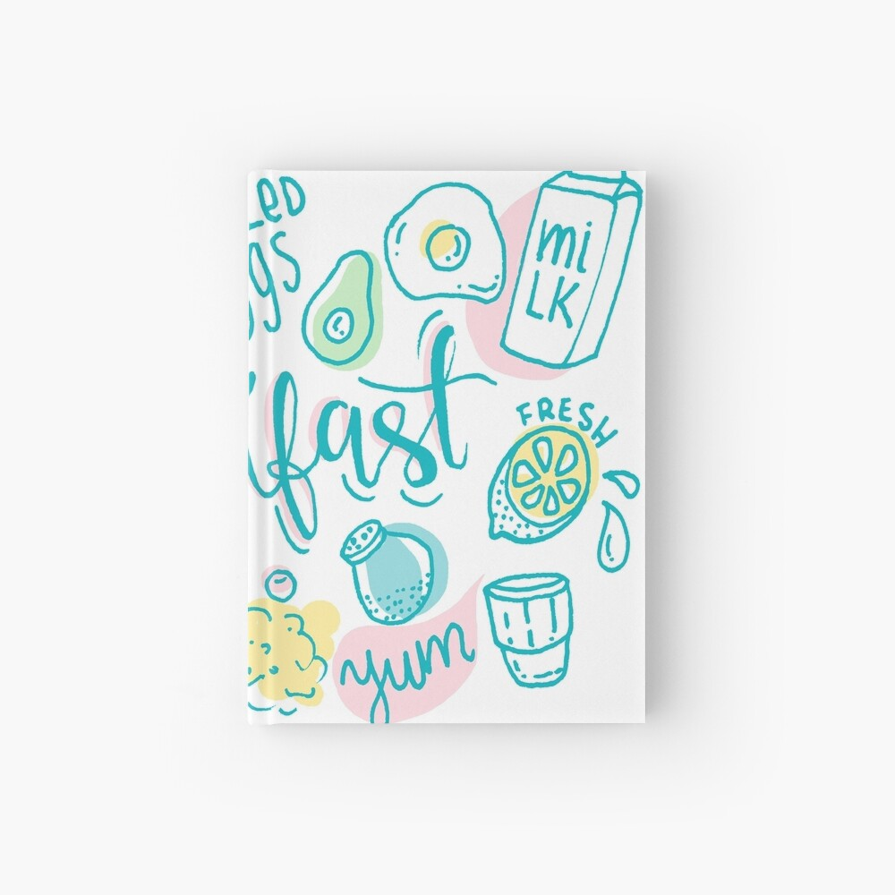 Breakfast - Colorful illustrated food pattern Hardcover Journal