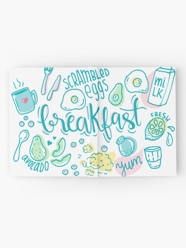 Alternate view of Breakfast - Colorful illustrated food pattern Hardcover Journal