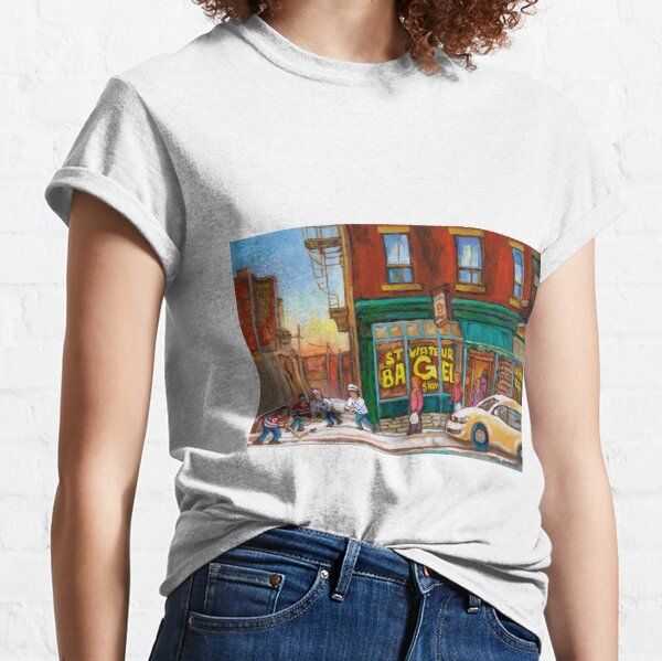 CANADIAN PAINTINGS BY CANADIAN ARTIST OF MONTREAL WINTER SCENES Classic T-Shirt