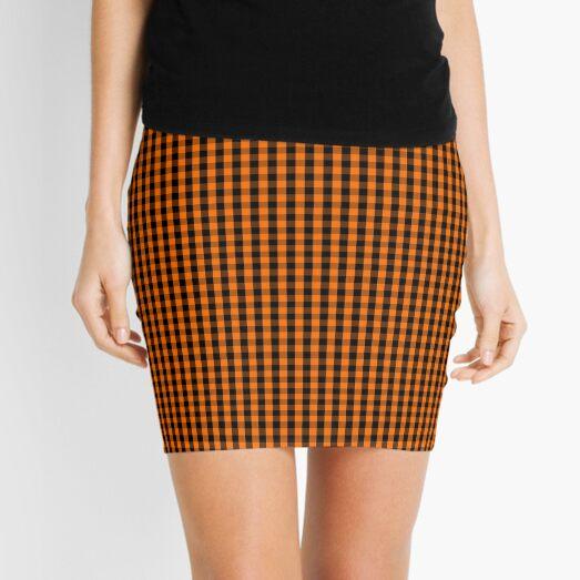 Dark Pumpkin Orange and Black Gingham Check Pattern Mini Skirt