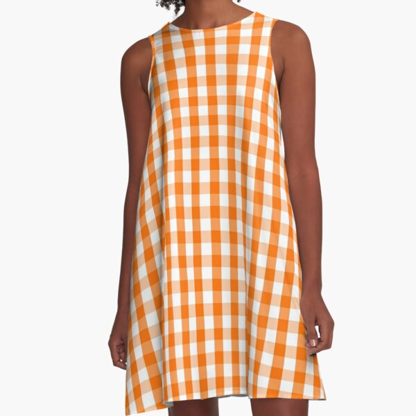 Classic Pumpkin Orange and White Gingham Check Pattern A-Line Dress