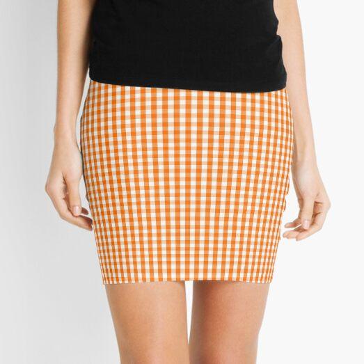Dark Pumpkin Orange and White Gingham Check Pattern Mini Skirt