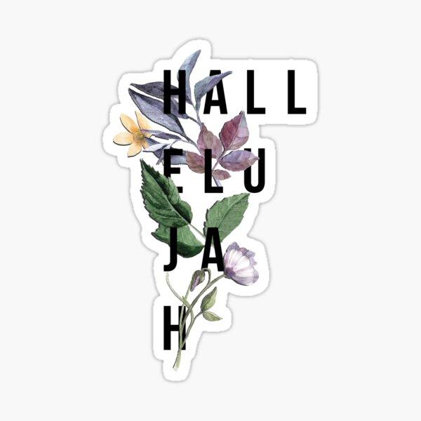Hallelujah - Christian Typography - Floral Sticker