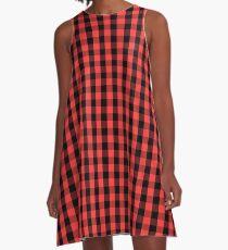 Große schwarze gespendete Niere Pink Gingham Check A-Linien Kleid