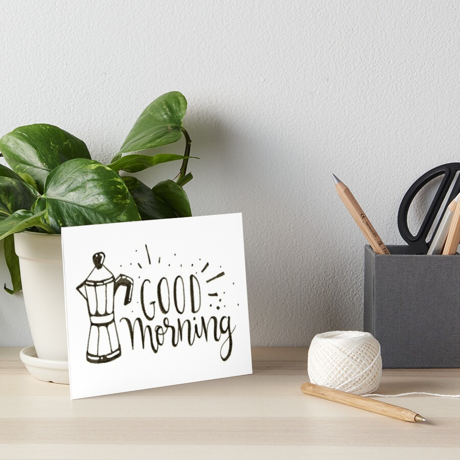 Good Morning - Coffee Illustration Art Board Print