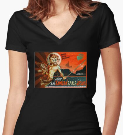 Samurai Space Jesus Women's Fitted V-Neck T-Shirt