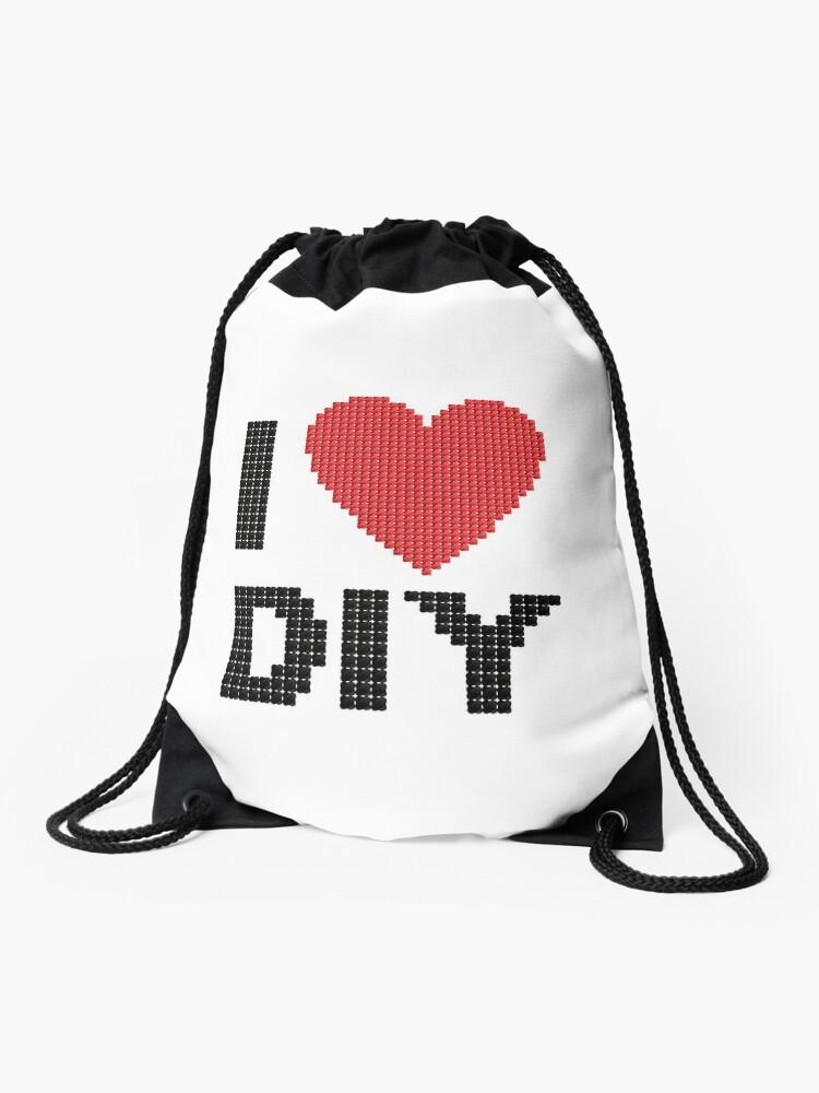 I Love Diy I Heart Handmade Drawstring Bag