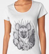 Hyänen und Trockenpflanzen Premium Rundhals-Shirt
