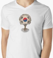Tree of Life with South Korean Flag Men's V-Neck T-Shirt