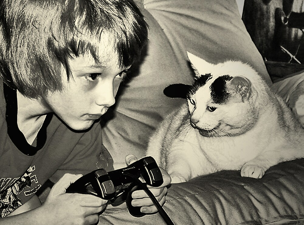 boy & game cat by goldsardine