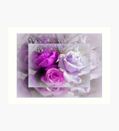 Purple & Pink Roses  Art Print