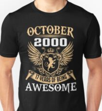 Born In October 2000 17 Years Of Being Awesome T-Shirt