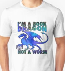 I'm a Book Dragon Not a Worm in Deep Blue Watercolor Unisex T-Shirt