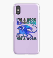 I'm a Book Dragon Not a Worm in Deep Blue Watercolor iPhone Case