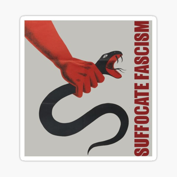 Sofocar el fascismo: arte retro antifascista Pegatina
