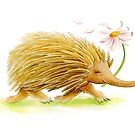 Watercolor whimsy echidna painting by Sarah Trett