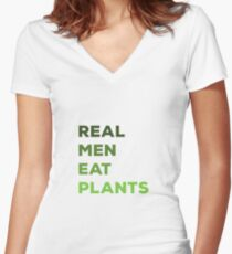 Real Men Eat Plants Women's Fitted V-Neck T-Shirt