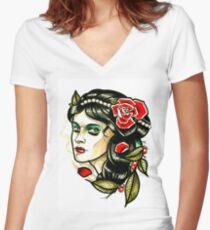 girl Women's Fitted V-Neck T-Shirt