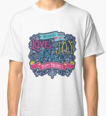 Christmas Typography Love Joy Peace Happy Holidays Banner Classic T-Shirt