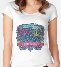 Christmas Typography Love Joy Peace Happy Holidays Banner Women's Fitted Scoop T-Shirt