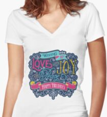Christmas Typography Love Joy Peace Happy Holidays Banner Fitted V-Neck T-Shirt
