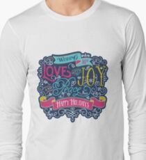 Christmas Typography Love Joy Peace Happy Holidays Banner Long Sleeve T-Shirt