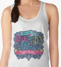 Christmas Typography Love Joy Peace Happy Holidays Banner Women's Tank Top