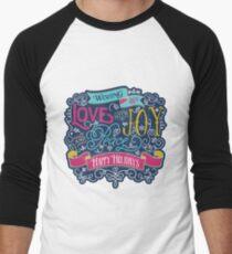 Christmas Typography Love Joy Peace Happy Holidays Banner Men's Baseball ¾ T-Shirt