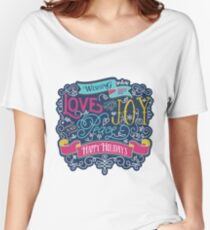Christmas Typography Love Joy Peace Happy Holidays Banner Women's Relaxed Fit T-Shirt
