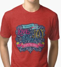 Christmas Typography Love Joy Peace Happy Holidays Banner Tri-blend T-Shirt