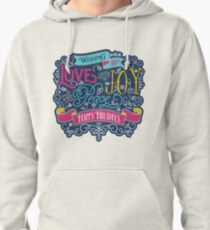 Christmas Typography Love Joy Peace Happy Holidays Banner Pullover Hoodie
