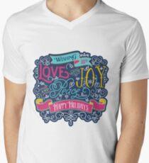 Christmas Typography Love Joy Peace Happy Holidays Banner Men's V-Neck T-Shirt