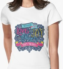 Christmas Typography Love Joy Peace Happy Holidays Banner Fitted T-Shirt