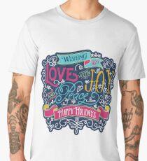 Christmas Typography Love Joy Peace Happy Holidays Banner Men's Premium T-Shirt