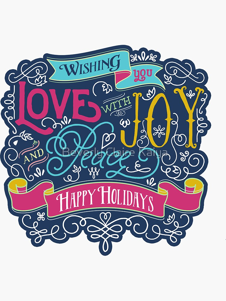 Christmas Typography Love Joy Peace Happy Holidays Banner by beverlyclaire