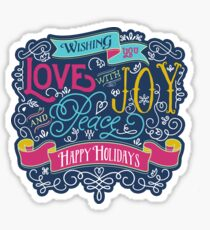 Christmas Typography Love Joy Peace Happy Holidays Banner Sticker