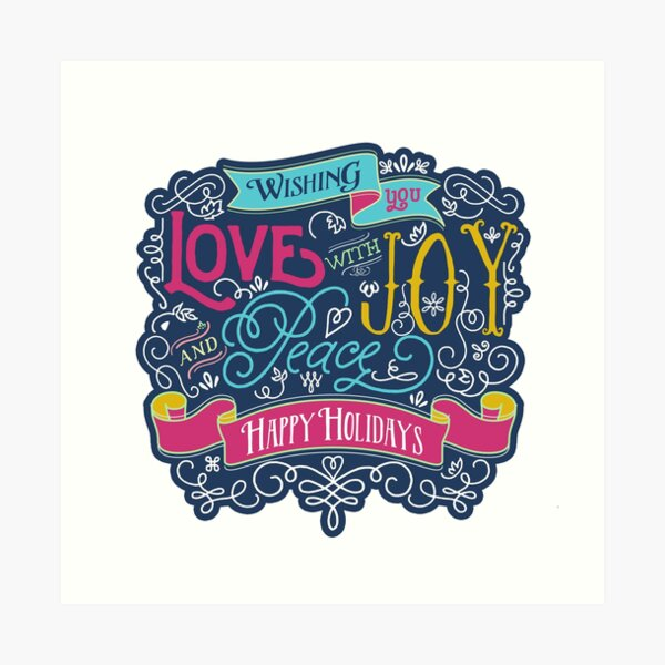 Christmas Typography Love Joy Peace Happy Holidays Banner Art Print