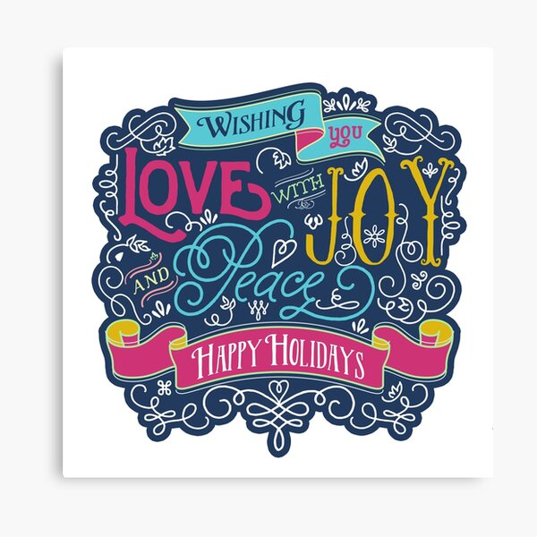 Christmas Typography Love Joy Peace Happy Holidays Banner Canvas Print