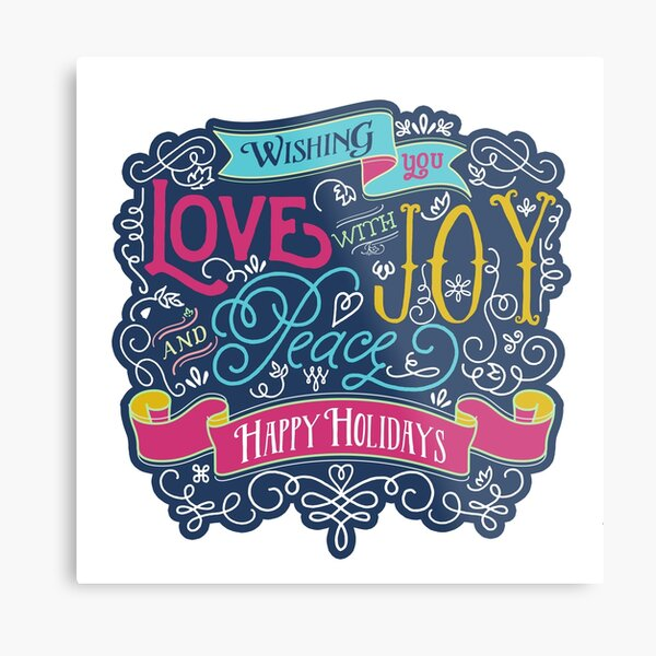 Christmas Typography Love Joy Peace Happy Holidays Banner Metal Print