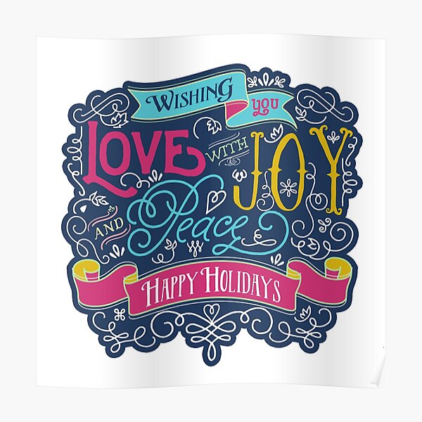 Christmas Typography Love Joy Peace Happy Holidays Banner Poster