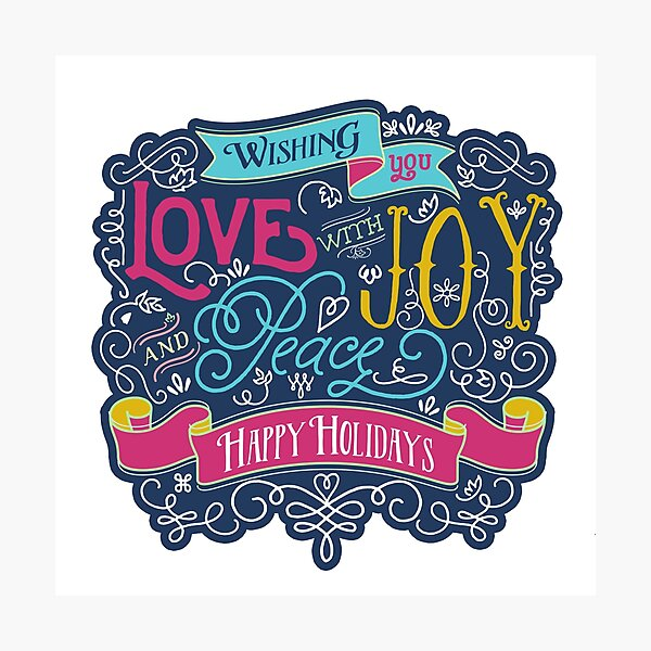 Christmas Typography Love Joy Peace Happy Holidays Banner Photographic Print