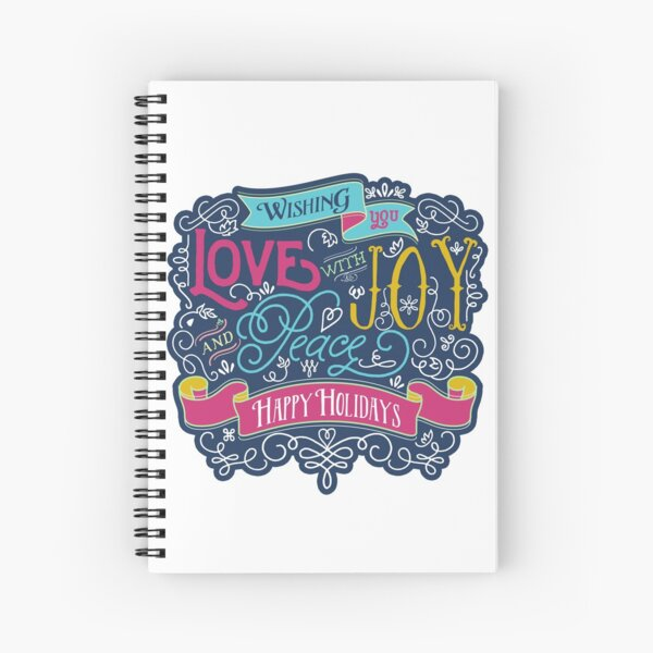 Christmas Typography Love Joy Peace Happy Holidays Banner Spiral Notebook