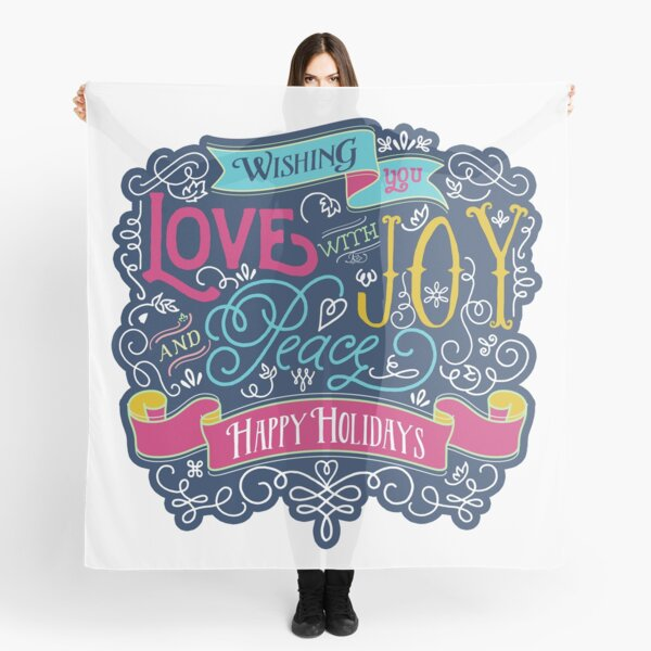 Christmas Typography Love Joy Peace Happy Holidays Banner Scarf