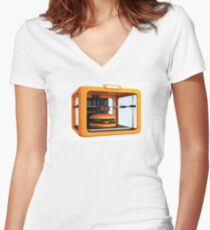 3D Printed Cheese Burger Women's Fitted V-Neck T-Shirt