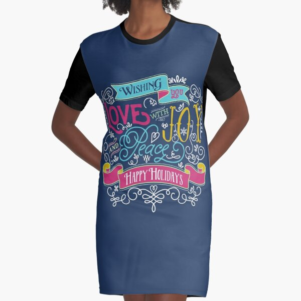 Love Joy Peace Christmas Typography Happy Holidays Banner Graphic T-Shirt Dress
