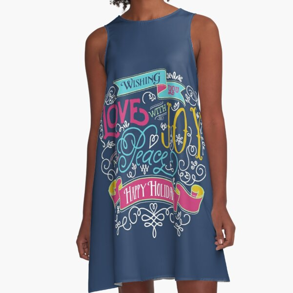 Love Joy Peace Christmas Typography Happy Holidays Banner A-Line Dress