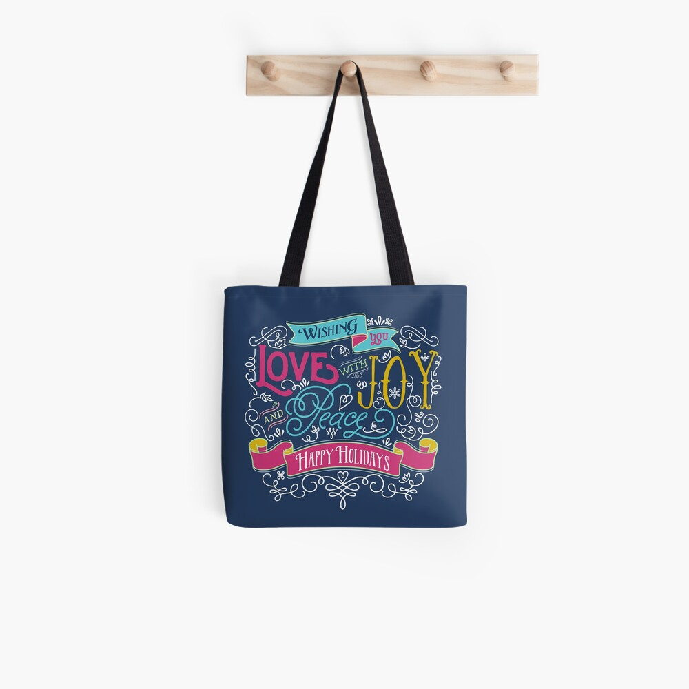 Love Joy Peace Christmas Typography Happy Holidays Banner Tote Bag